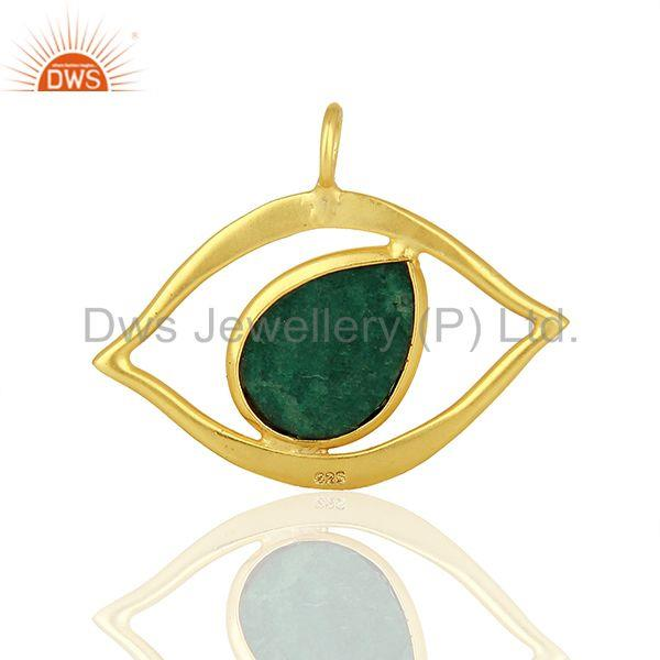 Emerald Gemstone Gold Plated 925 Silver Pendant Jewelry Manufacturer
