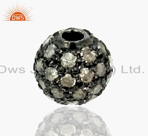 6 mm Diamond Pave Spacer 925 Sterling Silver Ball Bead Finding Vintage Style