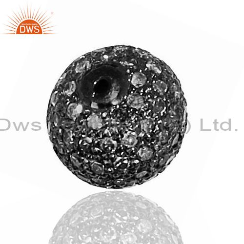 10mm Designer Natural Diamond Pave Ball Sterling Silver Spacer Findings Jewelry