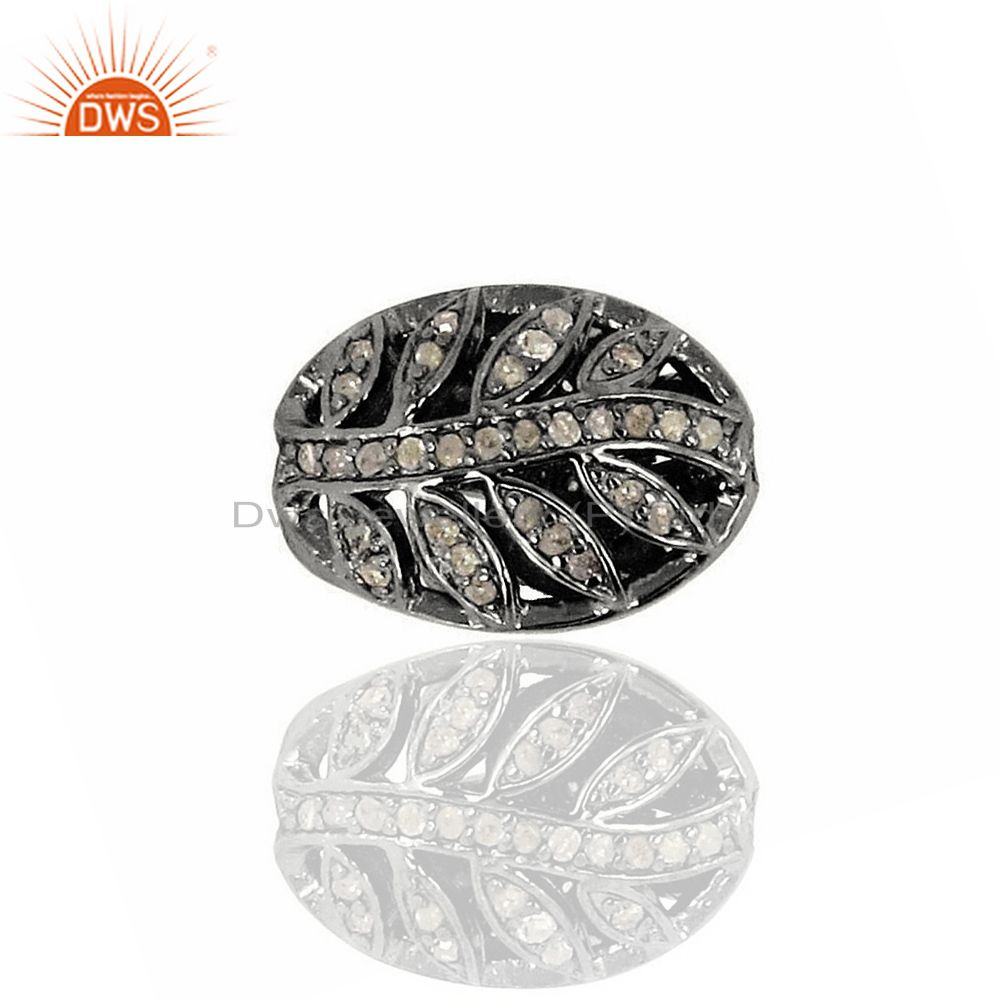 Leaf Design Natural Diamond Handmade Spacer Bead Finding 925 Silver Jewelry
