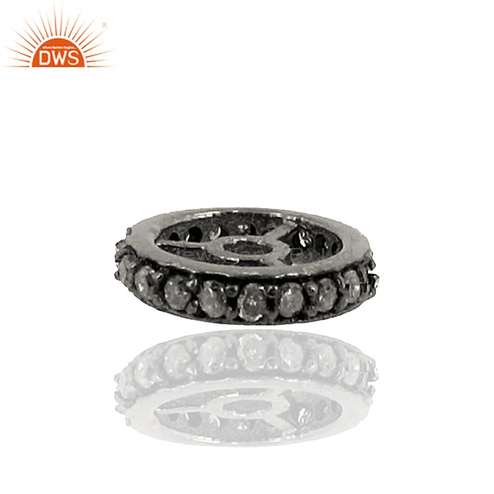 10mm New Rondelle Spacer Finding Pave Diamond 925 Silver Handmade Jewelry