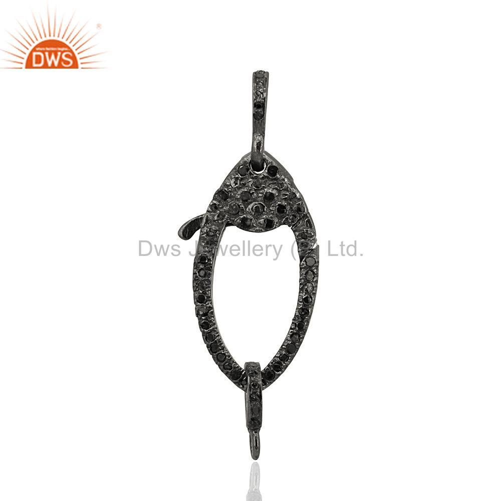 New Black Diamond Studded Lobster Clasp Pendant Finding Sterling Silver Jewelry