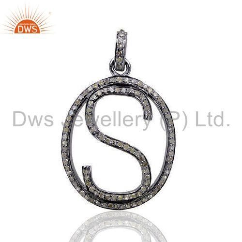 Pave Diamond 925 Sterling Silver Alphabet Letter S Initial Pendant Jewelry