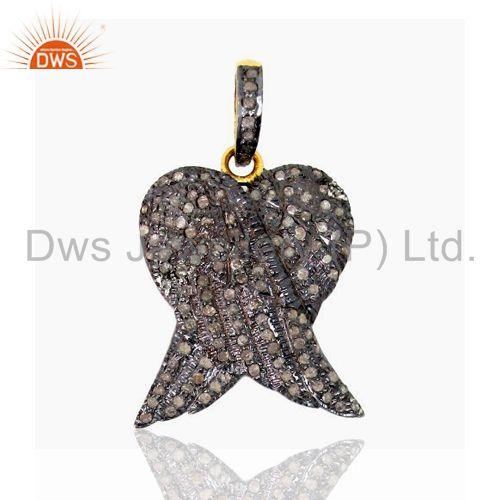 Pave Diamond Angle Wing Fashion Pendant 925 Silver 14k Gold Plated Jewelry