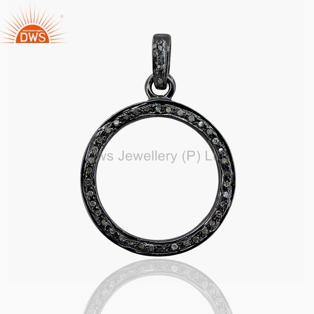 Pave Diamond Charm Pendant 925 Sterling Silver Handmade Jewelry