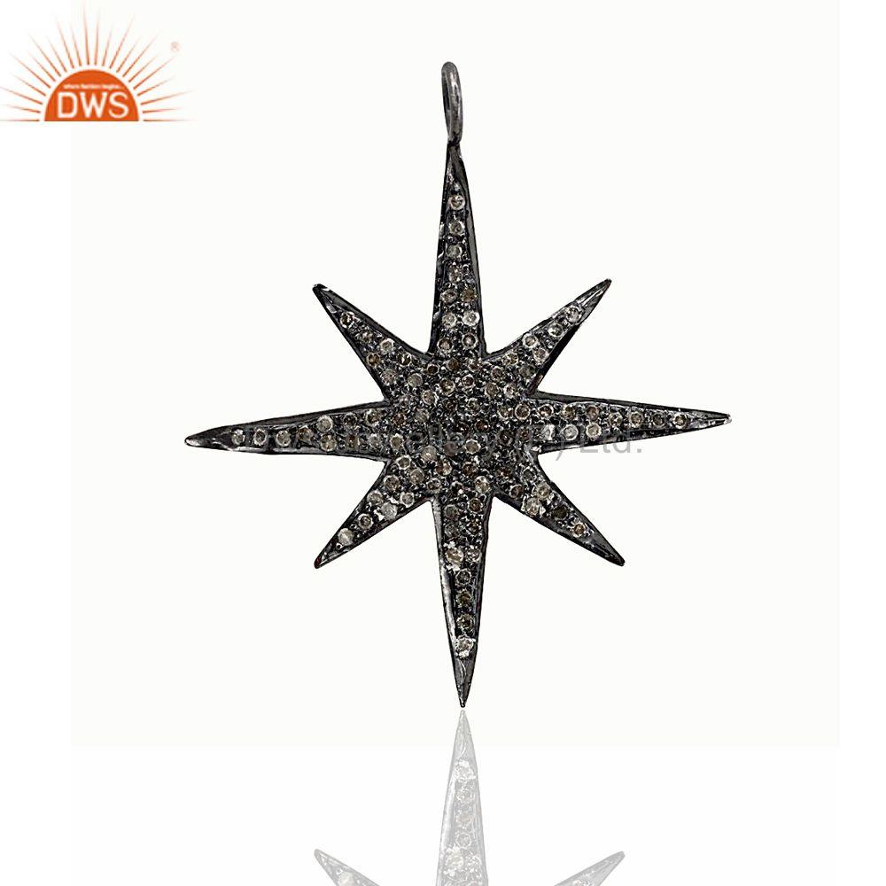 Natural Diamond Pave STAR BURST Pendant .925 Sterling Silver Women Fine Jewelry
