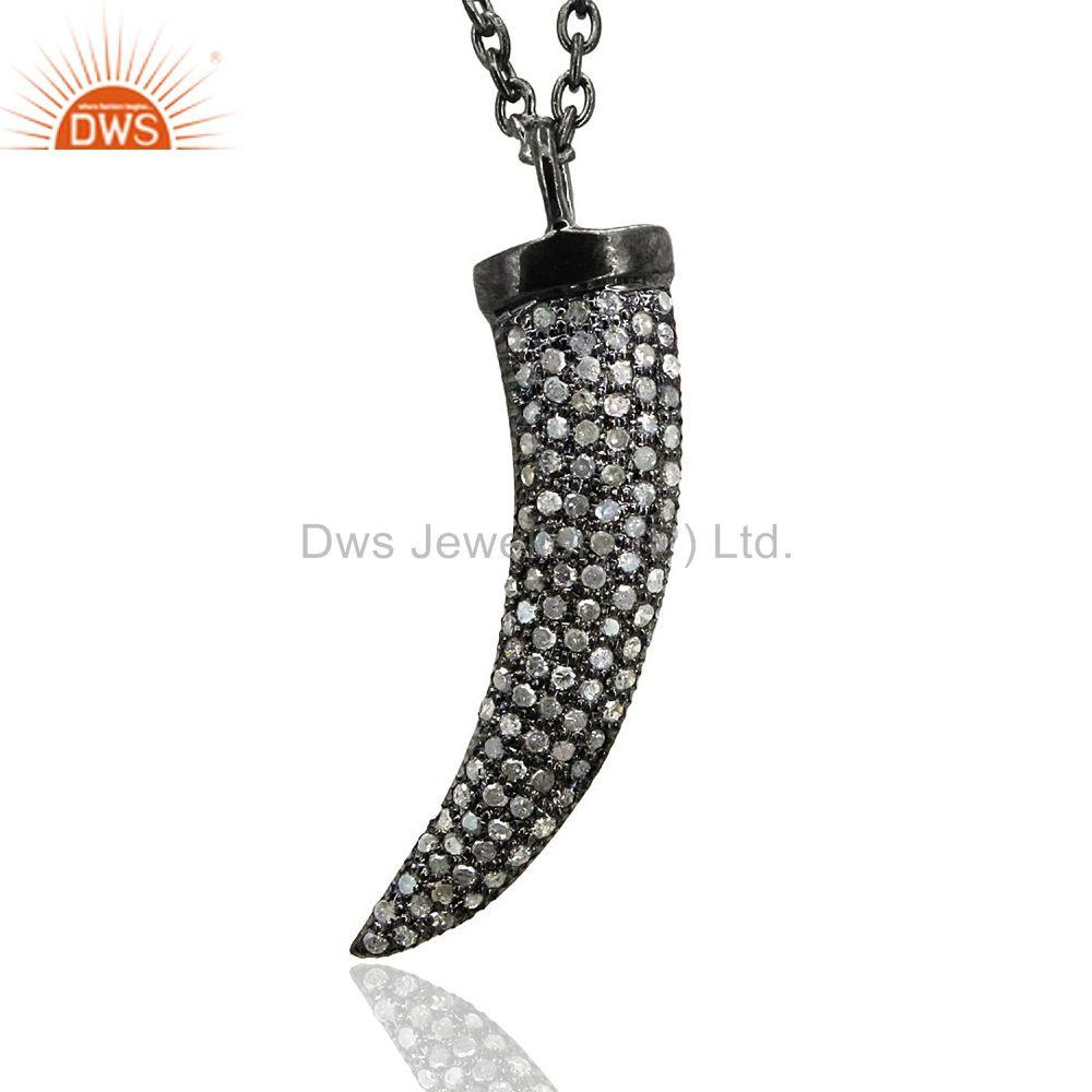 Claw Pendant 0.98ct Real Pave Diamond Sterling Silver Vintage Necklace Jewelry
