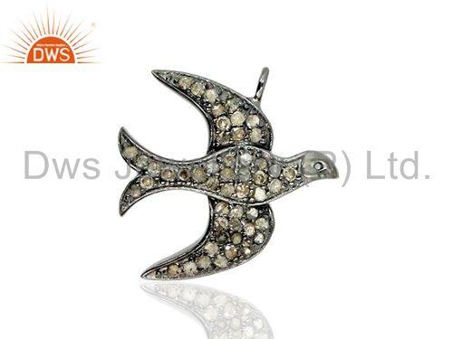 Pave Diamond Flying Bird Charm Pendant 925 Sterling Silver Jewelry