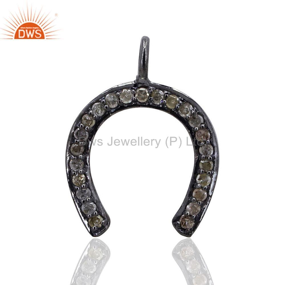 HORSE SHOE Charm Pave Diamond Pendant 925 Sterling Silver Handmade Fine Jewelry