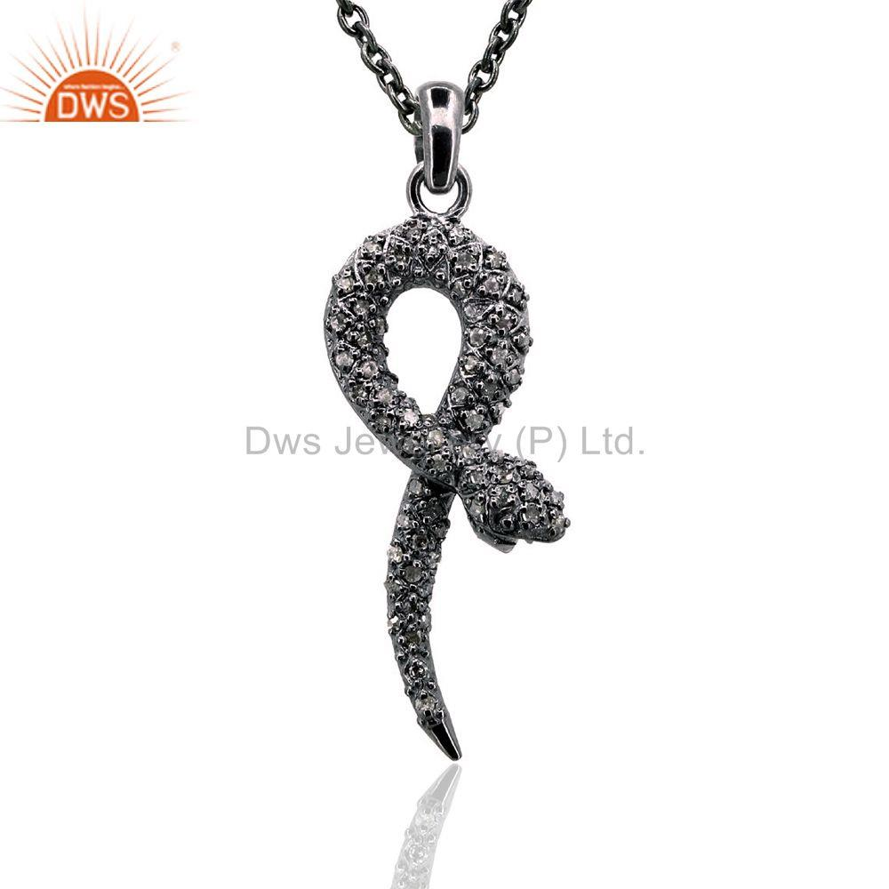 Natural Pave Diamond Halloween Silver Charm Snake Pendant Fashion Jewelry 39x12
