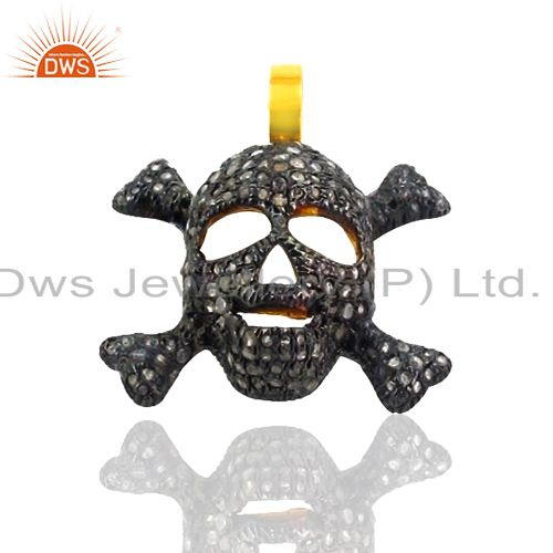 Pave Diamond Skull 925 Sterling Silver 14 K Gold Plated Charms Pendant Jewelry