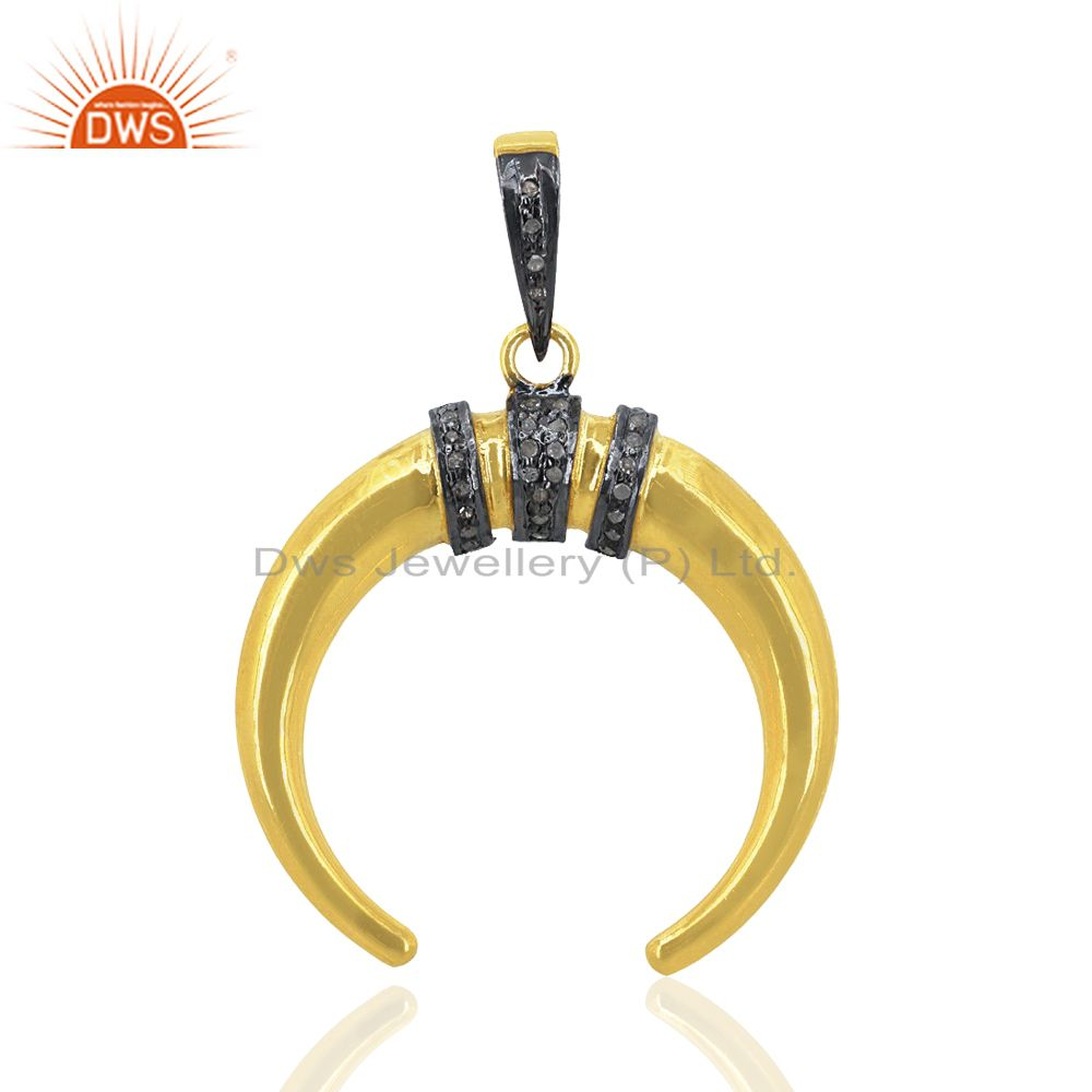 Pave Diamond 92.5 Sterling Silver Horseshoe Pendant 14K Gold Plated Gift Jewelry