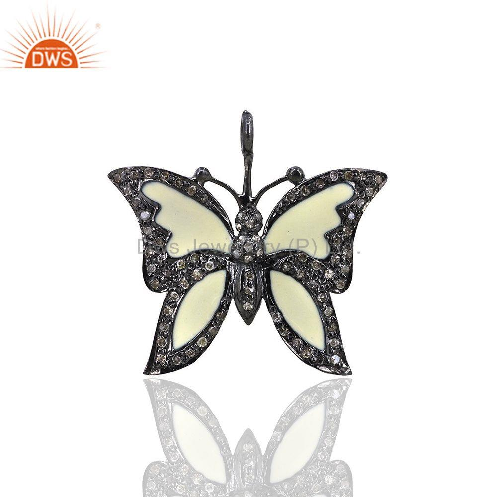 Pave Diamond Enamel Butterfly Charm Pendant 92.5 Sterling Silver Jewelry