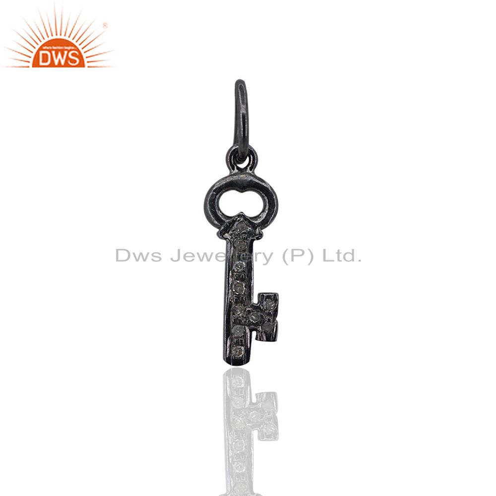 Key Charm Pendant Natural Diamond Pave 925 Silver Fine Jewelry