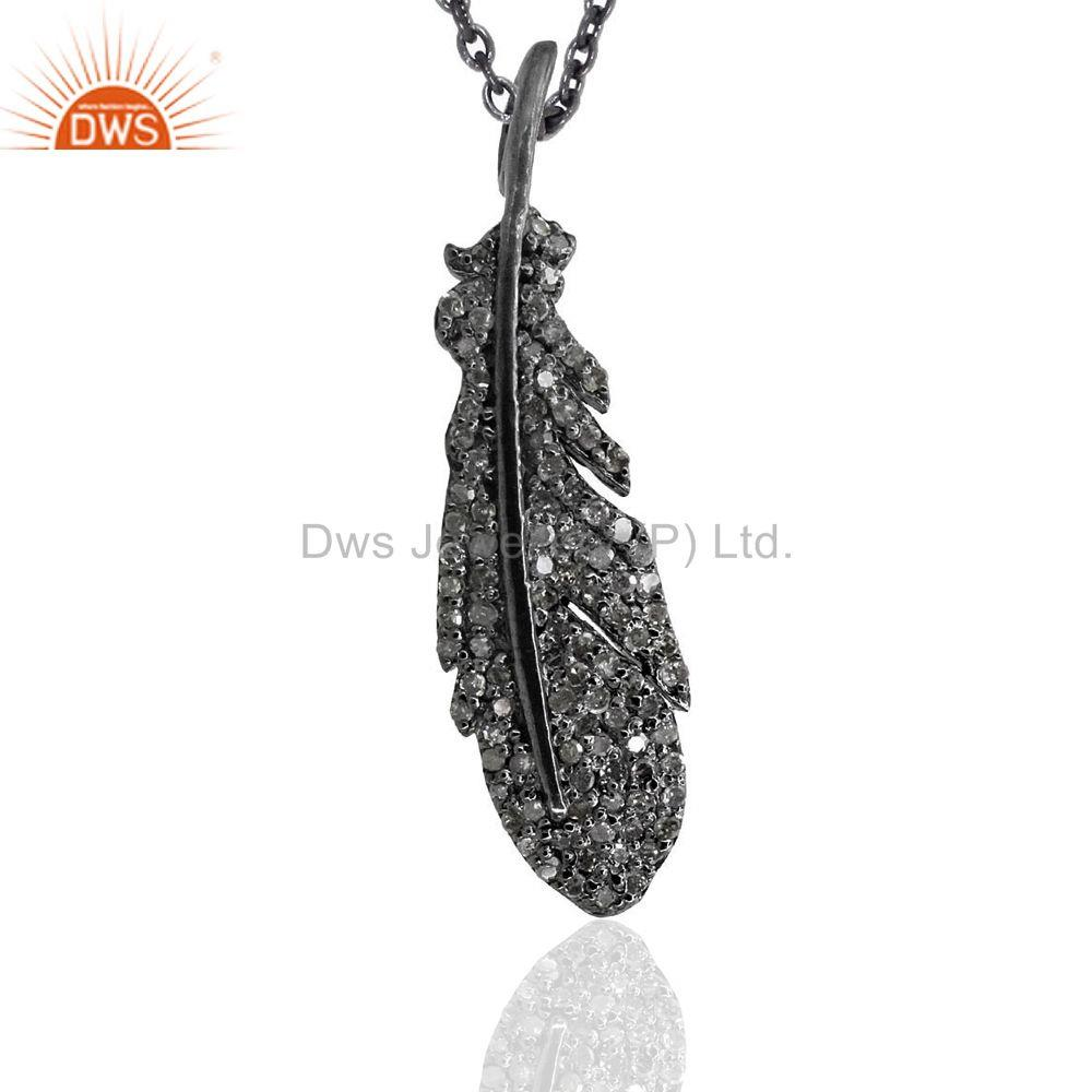 Pave Diamond Leaf Style Fashion Pendant 92.5 Sterling Silver Designer Jewelry
