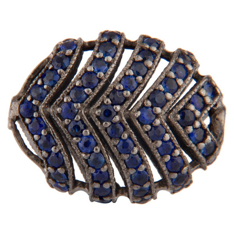 18K Gold Plated Sterling Silver Pave Blue Sapphire Finding Charms Jewelry