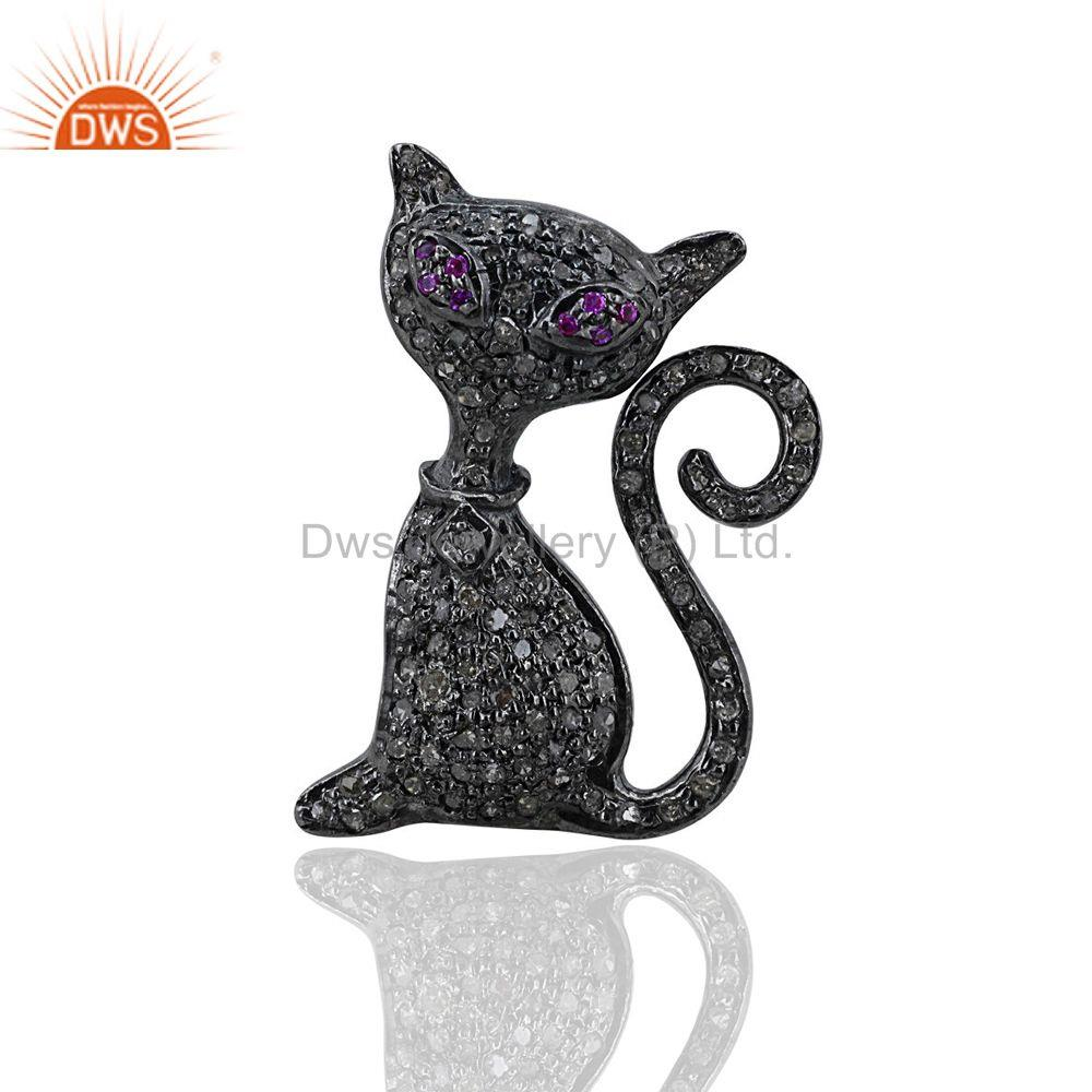 Natural Diamond Cat Pendant Ruby Gemstone Charm 925 Sterling Silver Pave Jewelry