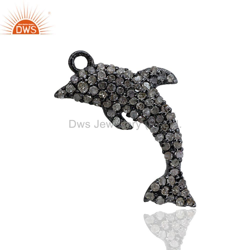 Pave Diamond Designer Fish Gift Pendant Dolphin Charm Sterling Silver Jewelry