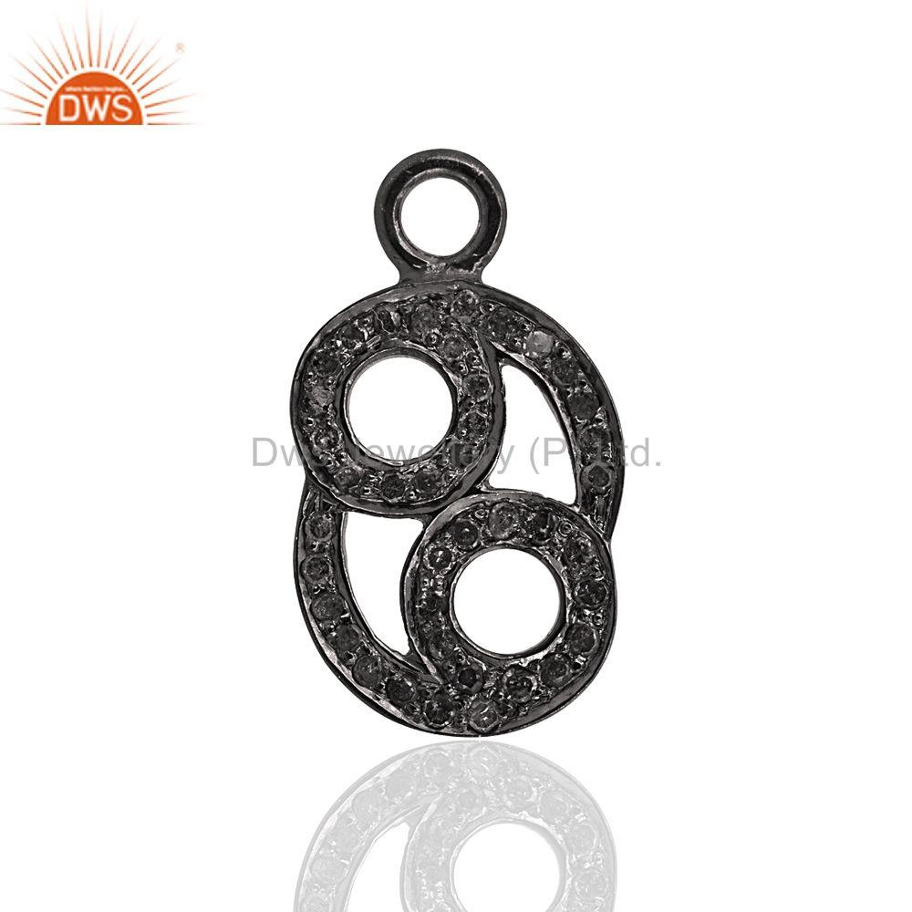 Pave Diamond Charms Pendant 925 Sterling Silver Jewelry