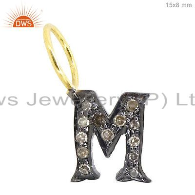 Pave Diamond Initial M Letter Charm Pendant 925 Silver Sterling Silver Jewelry