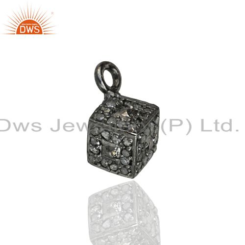 Pave Diamond Square Charm Pendant Handmade Sterling Silver Jewelry 6mm