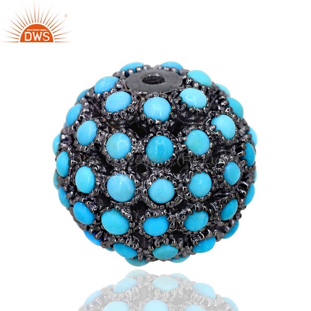 17MM Turquoise Gemstone Pave Bead Ball Sterling Silver Jewelry Spacer Finding
