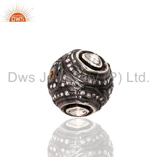 Diamond Polki 925 Sterling Silver Spacer Ball Bead Jewelry Finding 12mm