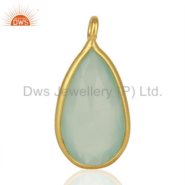 Aqua Chalcedony Gemstone Gold Plated 925 Silver Pendant Findings