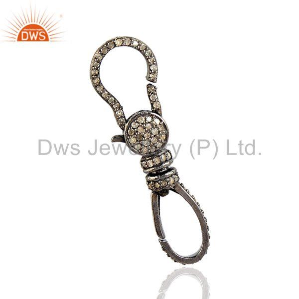 Pave Diamond Clasp Lock Finding Sterling Silver Women Gift Jewelry FINE EDH
