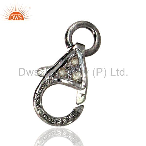 925 Sterling Silver Pave Diamond Lobster Clasp Handmade Jewelry Finding 3Pc. LOT