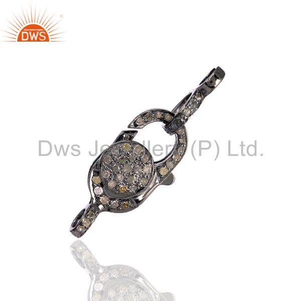 Pave Diamond 925 Sterling Silver Lobster Clasp Connector Finding Jewelry 2 pcs