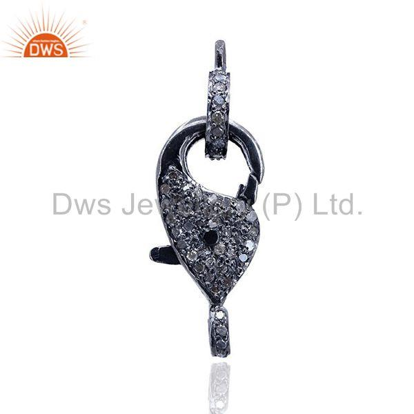 0.49Ct Diamond Pave Lobster Clasp Pendant 925 Sterling Silver Jewelry 27x9 mm