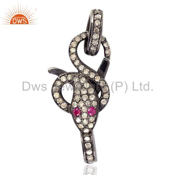 Pave Diamond Gemstone .925 Sterling Silver Wrap Snake Clasp Connector Finding
