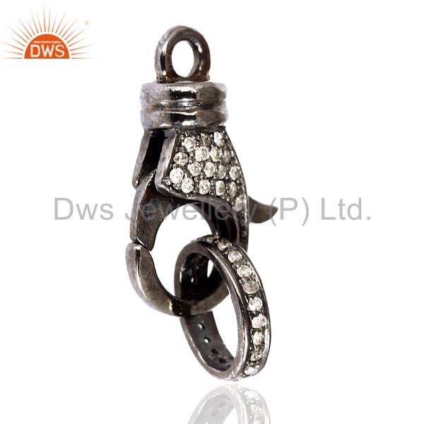 0.26ct Diamond Sterling Silver Clasp Lock Connector Finding Jewelry