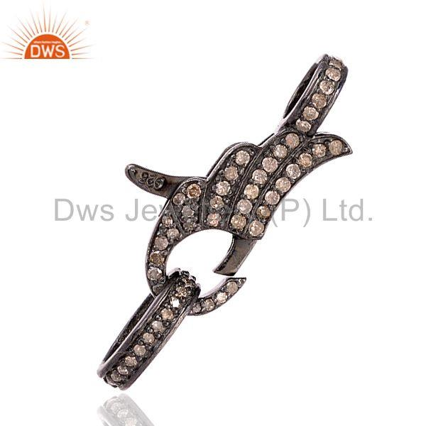 925 Sterling Silver 0.95 Ct Pave Set Diamond Lobster Lock Clasp Finding Jewelry
