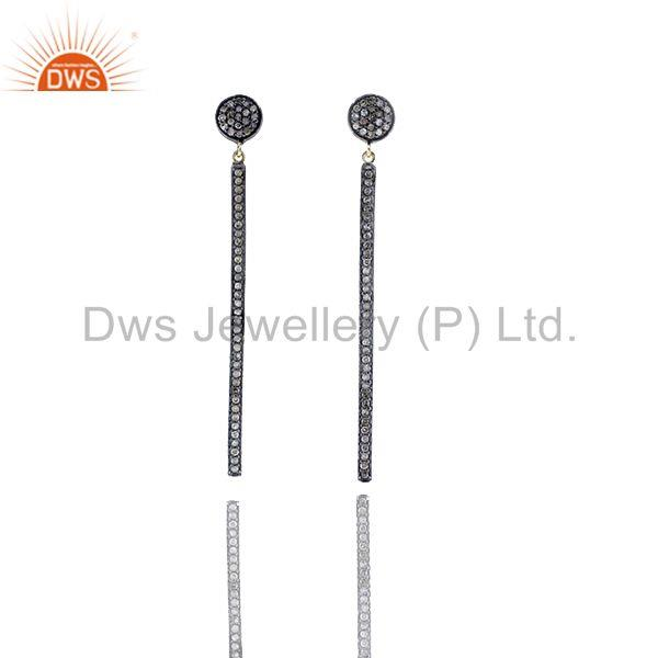 14k Yellow Gold Pave Diamond Stick Silver Earrings Jewelry Gift Fo For Christmas