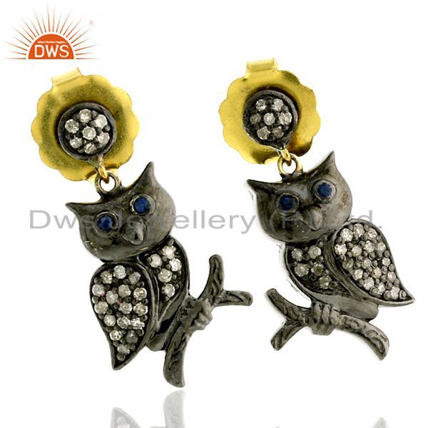 0.41ct Pave Diamond Sapphire 14kt Gold Silver Owl Design Dangle Earrings Jewelry