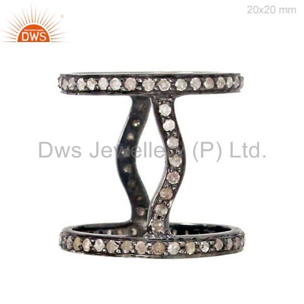 2.9ct Natural Diamond Pave 925 Sterling Silver Double Band Ring Designer Jewelry