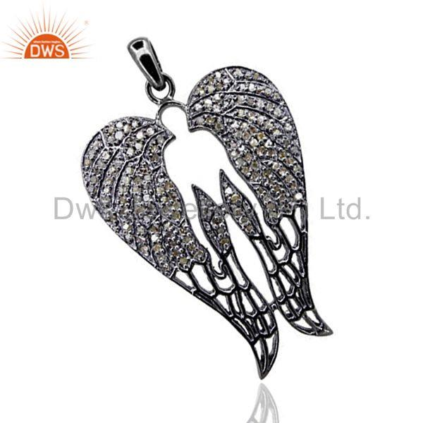 New Pave Diamond Angel Wing Pendant Fashion Vintage Look Jewelry Sterling Silve