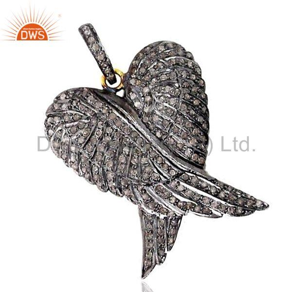 925 Sterling Silver Pave 1.88ct Diamond ANGEL WING Pendant 14k Gold Vintage Look