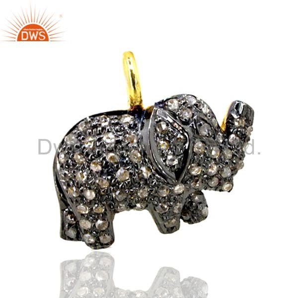 0.50Ct Diamond Pave 925 Sterling Silver Elephant Pendant Fine Gift Jewelry