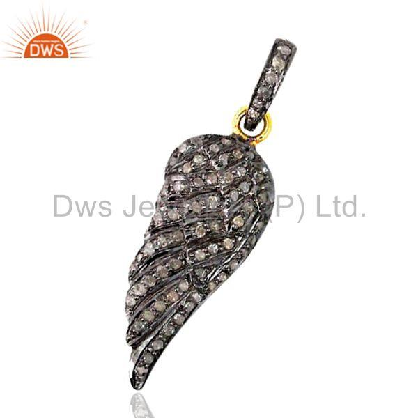 Diamond Pave Sterling Silver ANGEL WING Charm Pendant 14k Gold WONDERING Jewelry