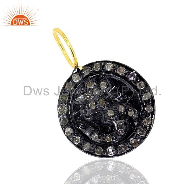 Natural Diamond Pave .925 Sterling Silver Aum/Om/Ohm Charm Pendant Jewelry 11 MM
