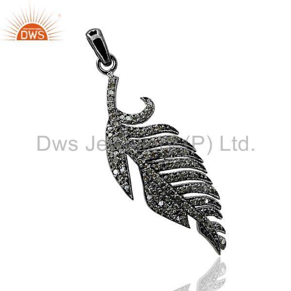 NEW Handmade 925 Sterling Silver Pave 3/4ct Diamond Leaf Fashion Pendant Jewelry
