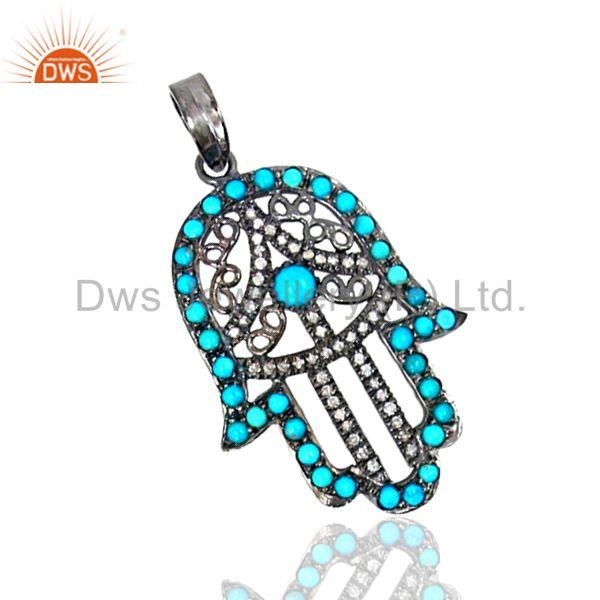 Hand Hamsa Charm Pave Diamond and Turquoise Gemstone Pendant