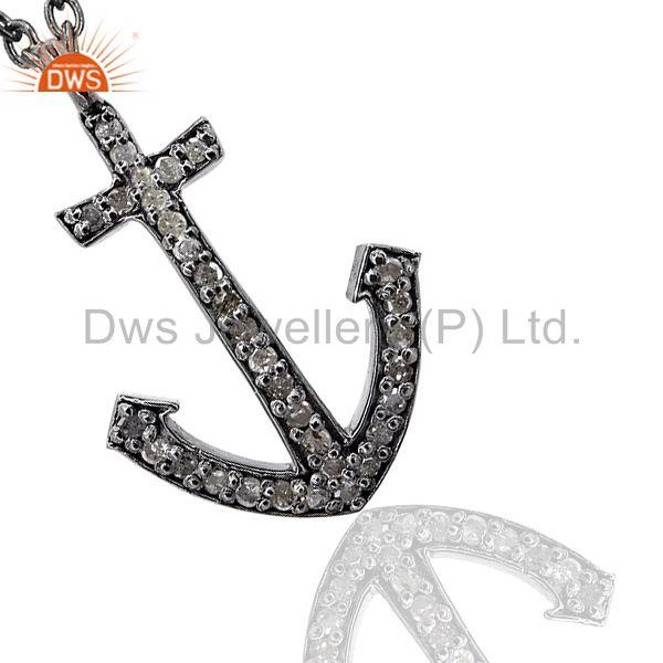 Designer 0.30Ct Diamond Pave 925 Silver Anchor Design Fine Pendant Jewelry 22x15