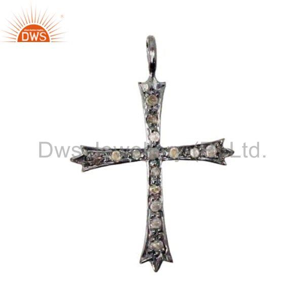 925 Sterling Silver CROSS Pendant Charm AMAZING Diamond Pave Religious Jewelry
