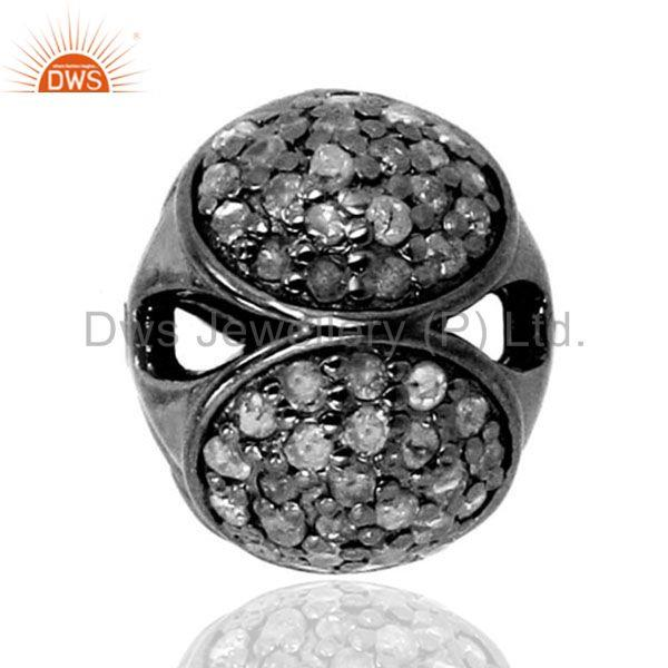 12mm Disco Bead Ball Diamond Pave Spacer Finding 925 Sterling Silver Jewelry