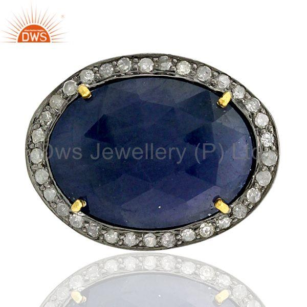 6.4ct Sapphire Pave Diamond 18k Gold 925 Sterling Silver Spacer Finding Gift