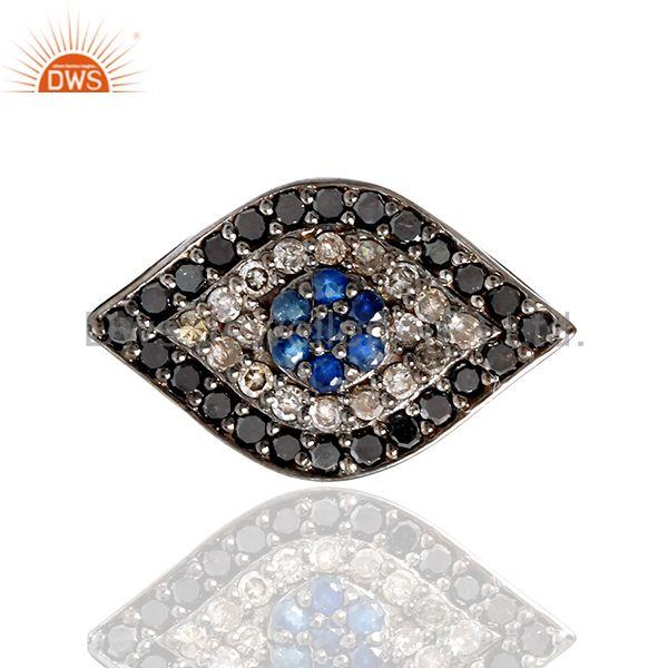 0.76ct Pave Diamond Sapphire 18k Gold 925 Sterling Silver Evil Eye Spacer Findin